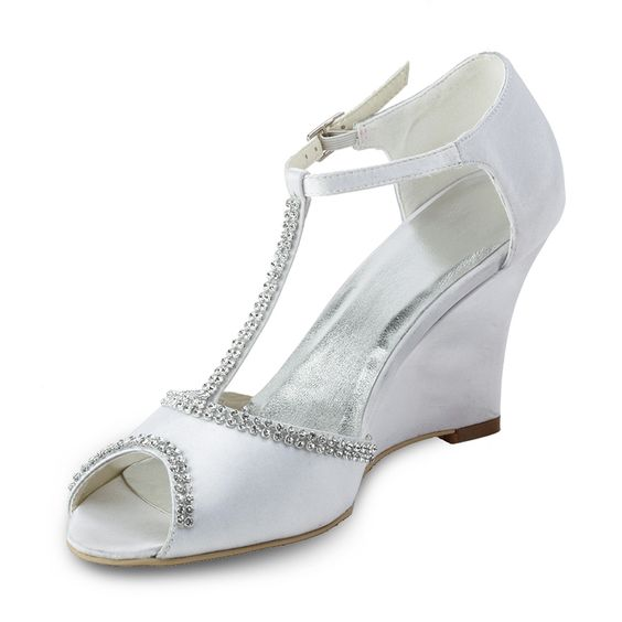 """Dyeable Oomph 3.5"""" T-strap Rhinestones Chain Peep-toe Sandals - Ivory Satin Wedding Shoes (11 colors)"""