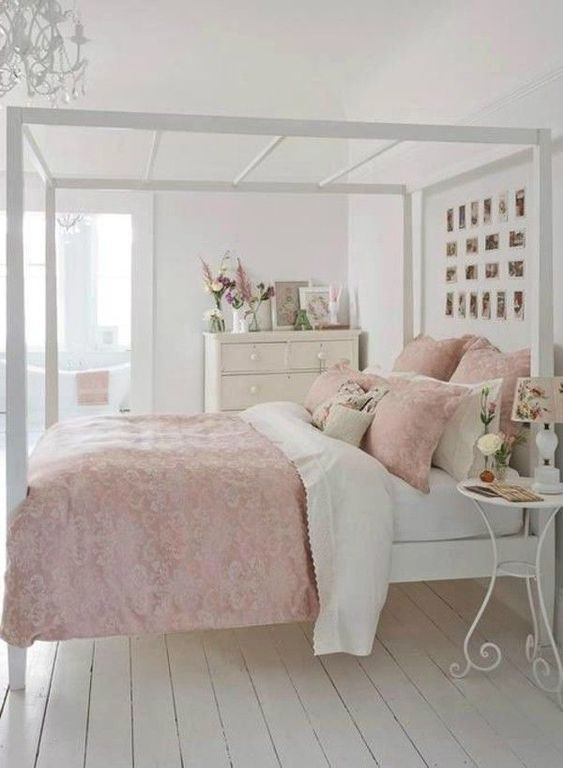 Shabby chic bedroom white pink combination of beautiful chandelier