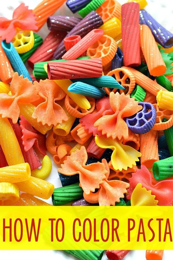How to dye pasta for art projects, crafts and for learning activities