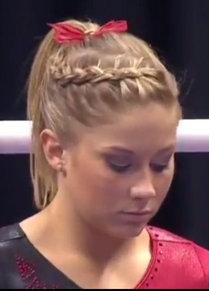Diagonal French Dutch Braid Into High Pony; Love how Shawn Johnson's hairstyle is cute and simple!