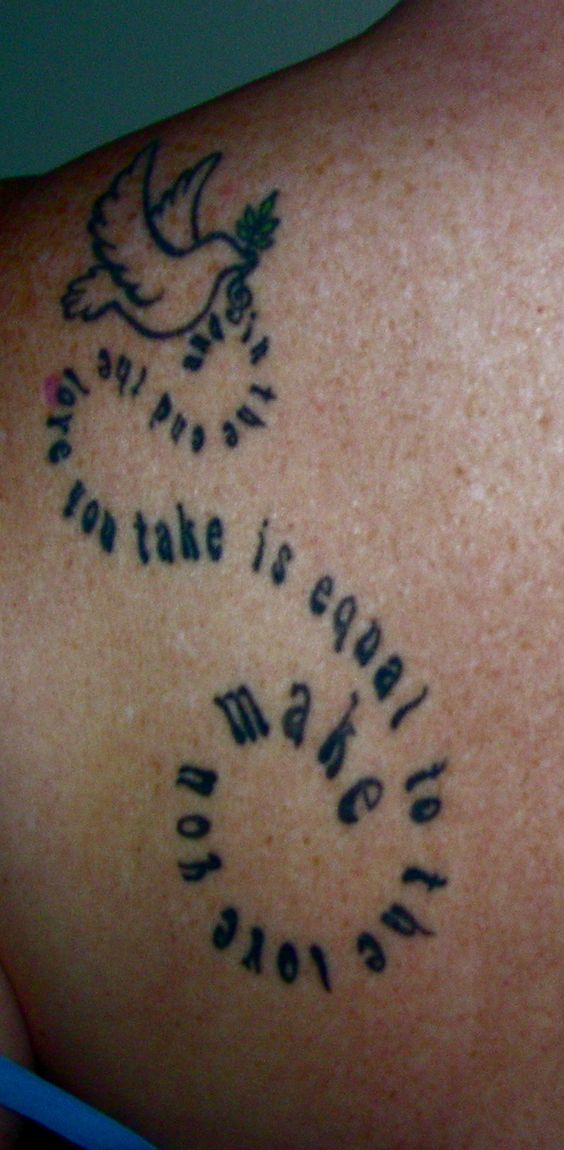 """""""and in the end the love you take is equal to the love you make"""" ~ if i had the balls for a tattoo"""