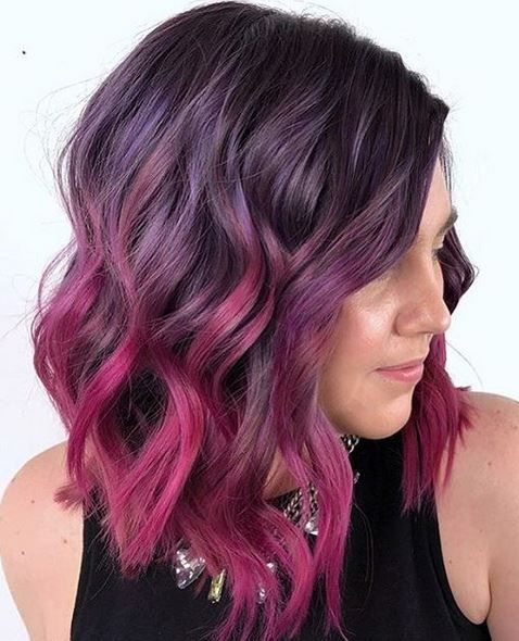 Unicorn Hair Love This Purple To Dark Pink Melt Purple Ombre Hair Pink Ombre Hair Short Ombre Hair