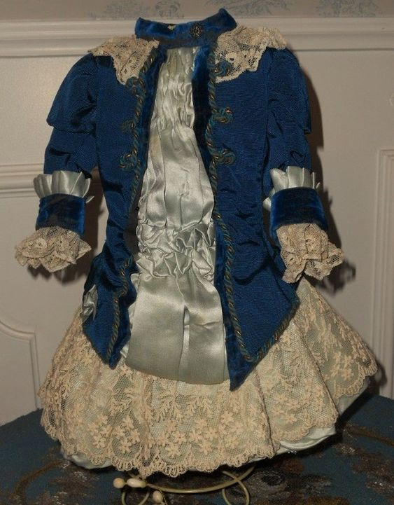 Superb French Blue silk Costume with matching Bonnet (item #1315979, detailed…