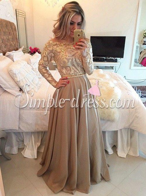 aline crew floorlength long sleeves gold chiffon prom
