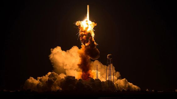 The Orbital Sciences Corporation Antares rocket, with the Cygnus spacecraft onboard, suffers a catastrophic anomaly moments after launch from the Mid-Atlantic Regional Spaceport Pad 0A at NASA Wallops Flight Facility on Oct. 28, 2014, on Wallops Island, Va. (Joel Kowsky/NASA) .  Weather.com's Top 100 Photos of 2014 - weather.com