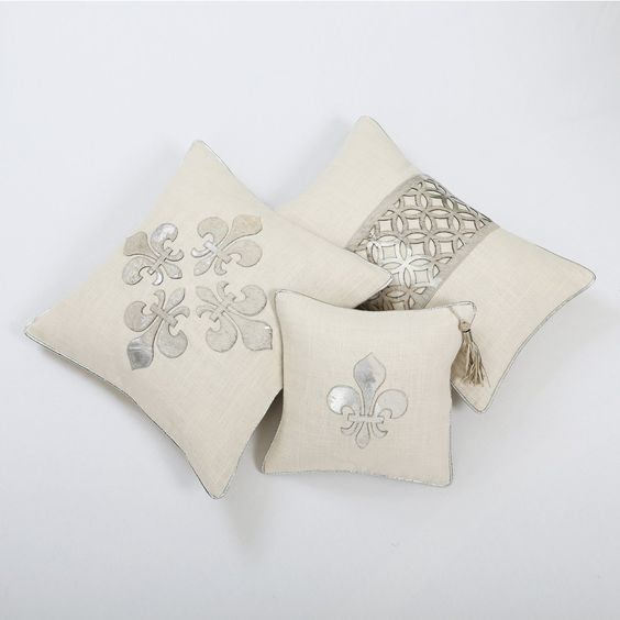 "Amazon.com: Silver Foiled Cowhide Fleur de Lis Pillow by Wild Mannered- 12"" x 12""- Cream: Home & Kitchen"