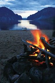 Fire by the lake.