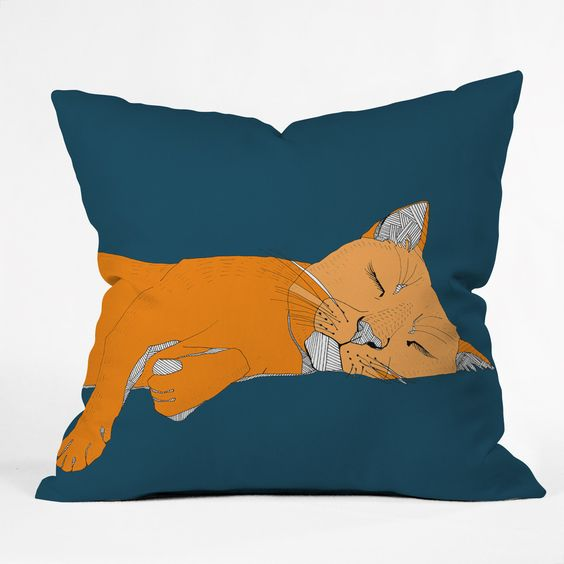 Casey Rogers Sleepy Cat Throw Pillow   DENY Designs Home Accessories