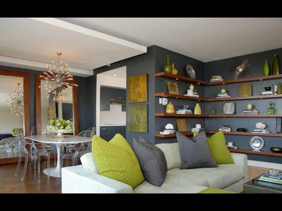Sala interior verde gris