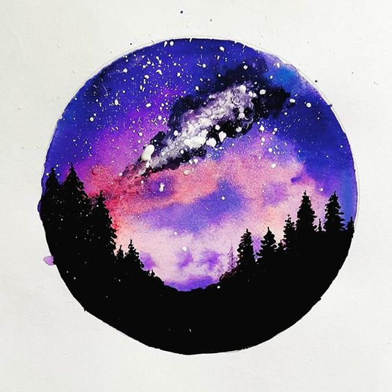 """Milky way"" Watercolor galaxy painting #forest silhouette ..."
