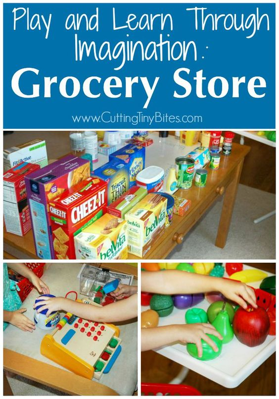 Play and Learn Through Imagination: Grocery Store. Imaginative or dramatic play idea for toddlers, preschoolers and early elementary.: