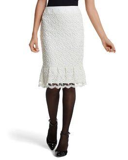 Ecru Lace Flounced Pencil Skirt - White House | Black Market
