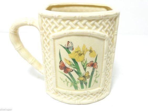 ENESCO Butterfly Garden Trellis Ceramic Ware 1978 Soup Mug ~ Made in Japan