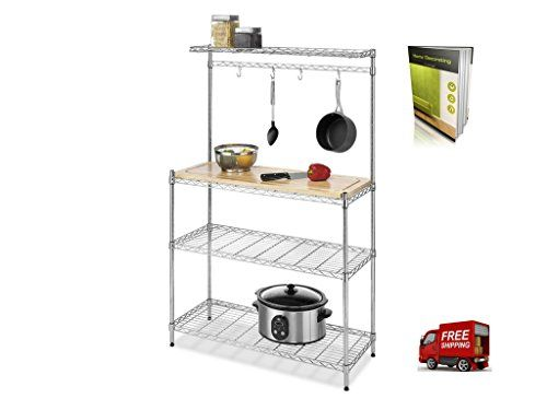 Bakers Rack With Drawers For Kitchens Wire Multifunctional Rack