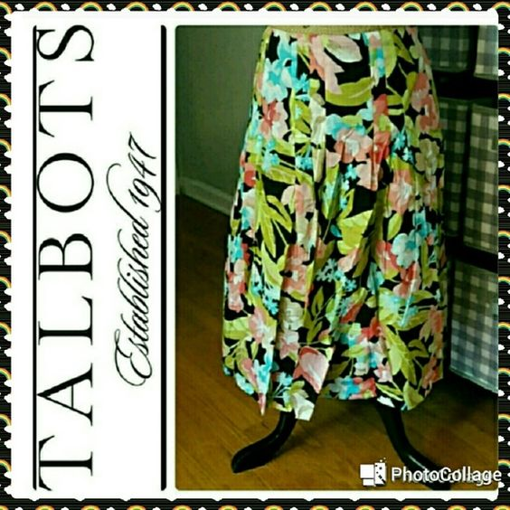 """Talbots tropical print full skirt In great condition.  Talbots skirt. Tropical floral print cotton, completely lined,  fitted through hips then full loose pleats. Side zip. Right above knee length. Measurements are length 25"""", waist 30"""". Talbots Skirts A-Line or Full"""