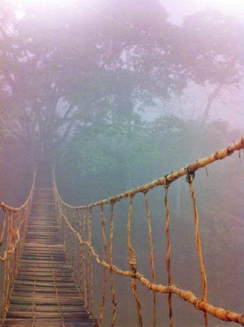 swinging bridge in the purple mist