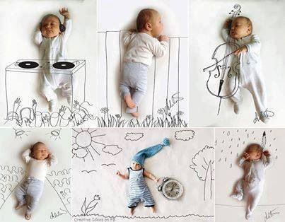 Drawing a background based on baby's sleeping pose! So cool!