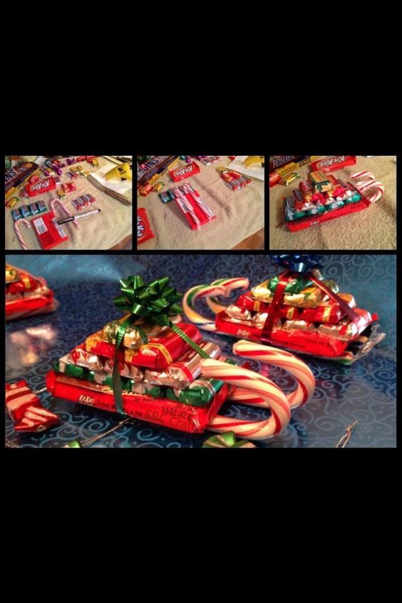 Candy cane sled! Hot glue candy canes to kit-kat. Hot glue Hershey ...