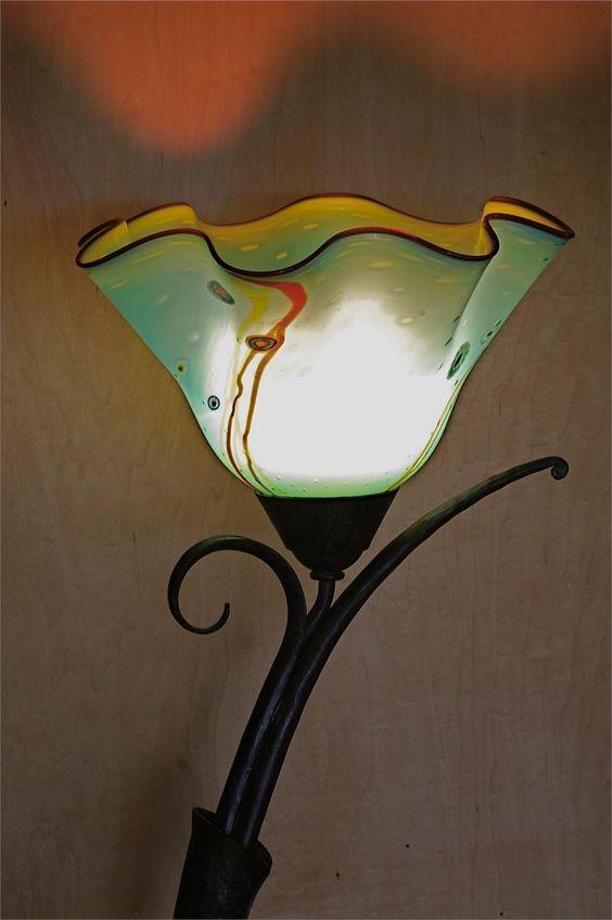 Floor Lamp Hand Blown Glass Hand Forged Iron SL-76 Aquarium by Artist ...