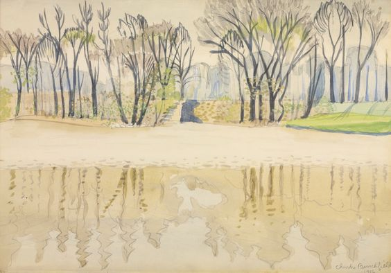 Charles Ephraim Burchfield (USA) Pond in Spring, Wade Park Cleveland (1916) watercolor on paper laid down on board 35.6 x 50.8 cm