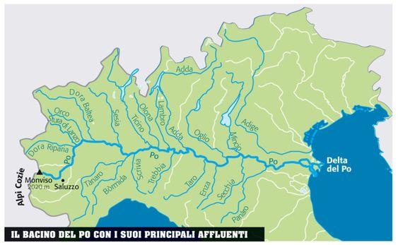 Cartina Muta Bacino Del Mediterraneo.Pin Su Il Po Dal Monviso Al Suo Delta