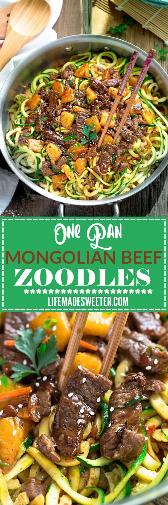One Pan Mongolian Beef Zoodles make the perfect easy grain free, low carb weeknight meal! Best of all, it comes together in under 30 minutes with just one pot to clean! So much better and healthier than takeout!!