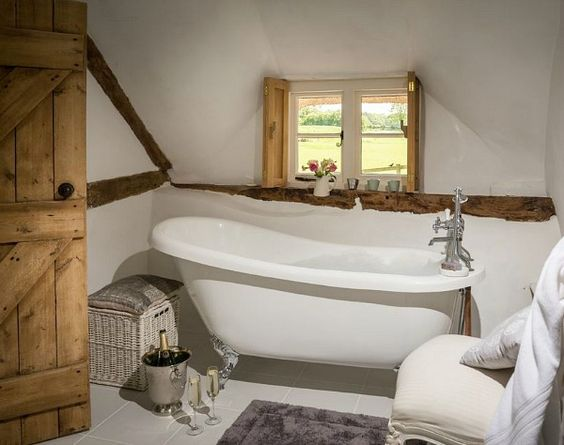 Attic bathroom gorgeous beams