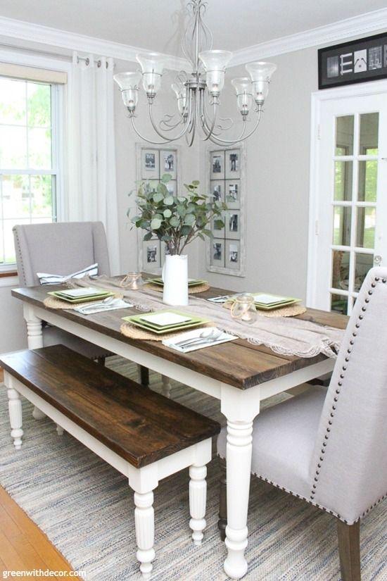The Coastal Farmhouse Dining Room Reveal Green With Decor Farmhouse Dining Room Farmhouse Dining White Farmhouse Table