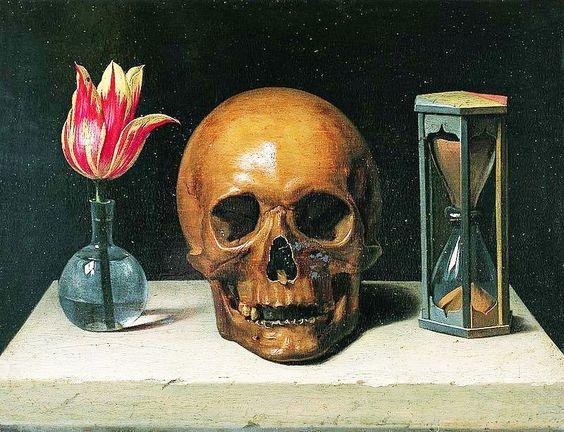 Филипп де Шампень: натюрморт в жанре vanitas — Жизнь, Смерть и Время — три символа бренности бытия (представлены тюльпаном, черепом, песочными часами) 2-я пол. XVII в.
