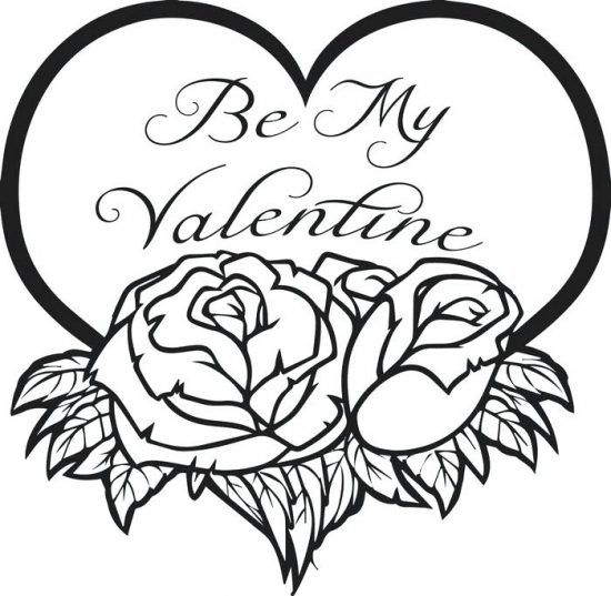 Be My Valentine Printable Coloring Page