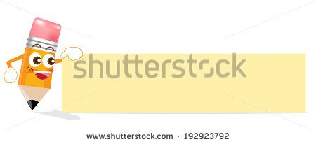 Pencil cartoon showing blank text box on white background - stock vector