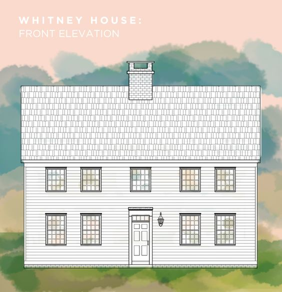 Whitney House FRONT elevation. A Saltbox inspired Home.