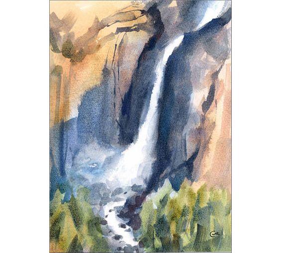 Yosemite Falls Pintura Original Acuarela Paisaje Cascada 8 X