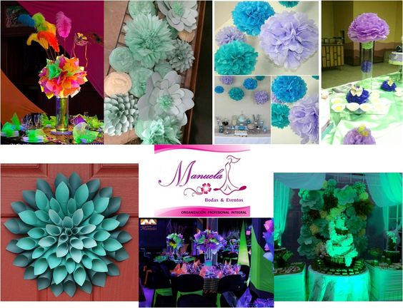 Fantasia and bodas on pinterest - Adornos de papel para fiestas ...