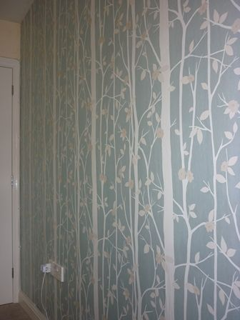 Laura Ashley Cottonwood Duck Egg Living Room Feature Wall