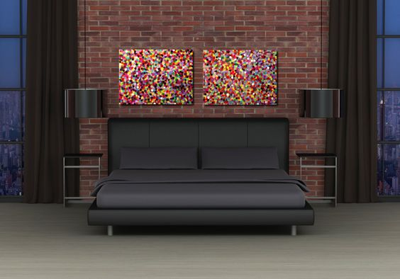 On Sale Large Modern Abstract Dots Painting Original Fine Art Two Canvas Red Colorful Modern Contemporary Diptych 18x48 JMS. $97.49, via Etsy.