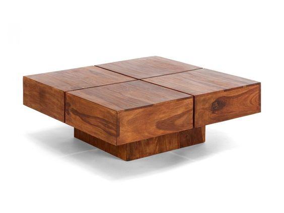 Couchtisch Holz Ausziehbar HOhenverstellbar ~ Couchtisch 80×80 massiv Holz Palisander Möbel neu Sofatisch SQUARE