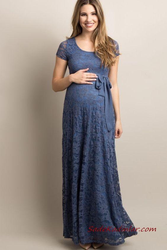 2019 Hamile Elbise Modelleri Lacivert Uzun Kisa Kol Genis Yaka Bagcikli Dantel Elbise Modelleri Elbise The Dress