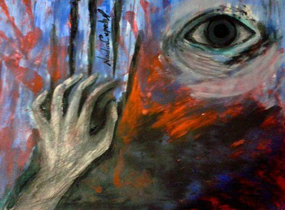 Esquizofrenia..  cuanta ira, cuanta violencia y cuanta impotencia técnicas mixtas, carboncillo y  pintura al frió