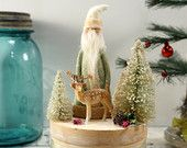 Christmas Decoration // Folk Art Santa // Vintage Style Christmas // Reindeer //  Bottle Brush Tree //