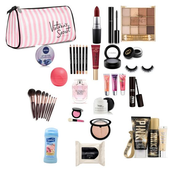 """""""Makeup bag"""" by stay-cloudy-1 ❤ liked on Polyvore featuring Victoria's Secret, MAC Cosmetics, Chanel, Too Faced Cosmetics, Gucci, Maybelline, Nivea, Eos, Sephora Collection and Bobbi Brown Cosmetics"""