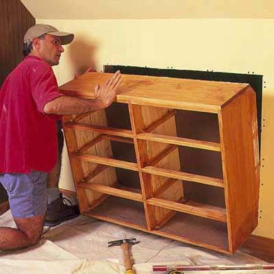 recessed drawers in knee wall: