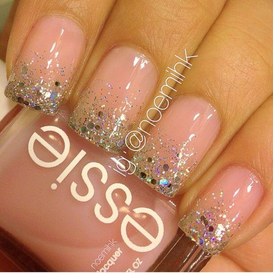 "Essie ""Sugar Daddy"" nails with glitter"