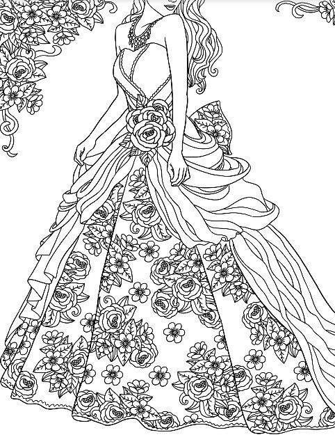 Ball Gown To Color With Colormatters App Colorful Fashion