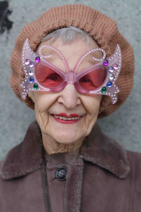 Great Sunglasses! (Interesting lips!) One is never too old to have fun!