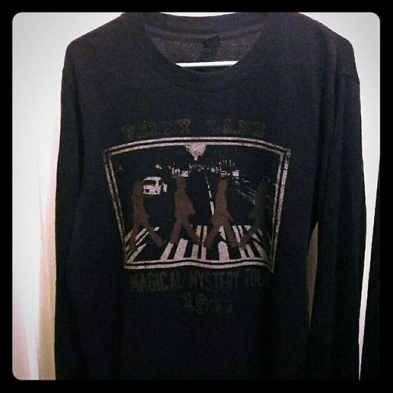 Men's long sleeve thermal shirt slightly used black Beatles shirt Tops Sweatshirts & Hoodies