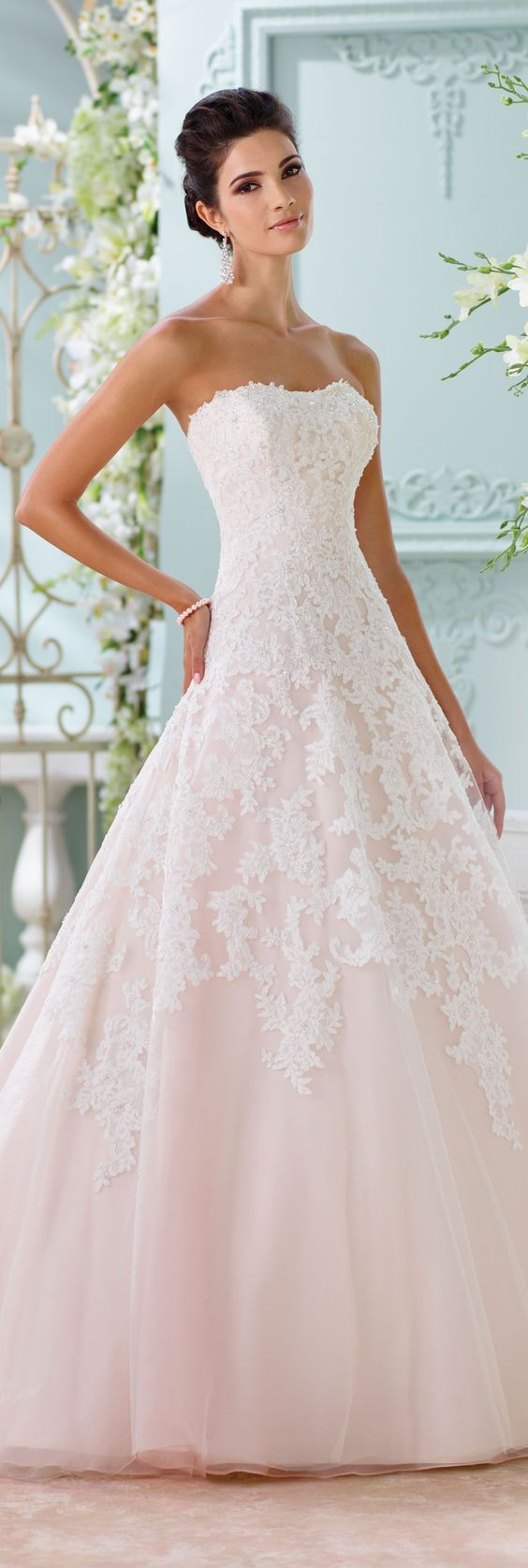 The David Tutera for Mon Cheri Spring 2016 Wedding Gown Collection - Style No. 116202 Soleleil  #laceweddingdresses: