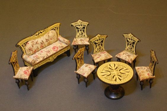 Outstanding Music Parlor set with Lithographed Paper from belle-epoque-dolls on Ruby Lane