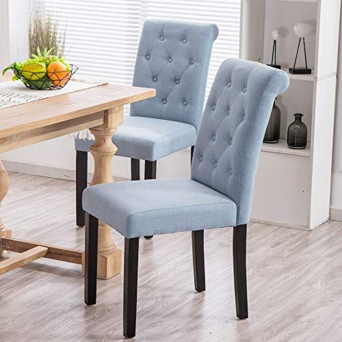 Yeefy Fabric Habit Solid Wood Tufted Parsons Dining Chair Set Of 4 Light Blue Parsons Dining Chairs Dining Chairs Side Chairs Dining