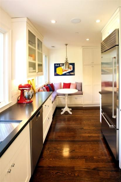 Really like this galley style kitchen the combination of for Galley kitchen with breakfast nook